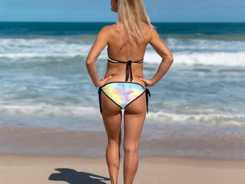 Summer Days Tie Dye Bikini with Black Trim Back-view by Swim Rags