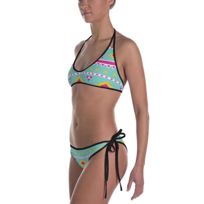 Vintage Tribal Suns Print Bikini