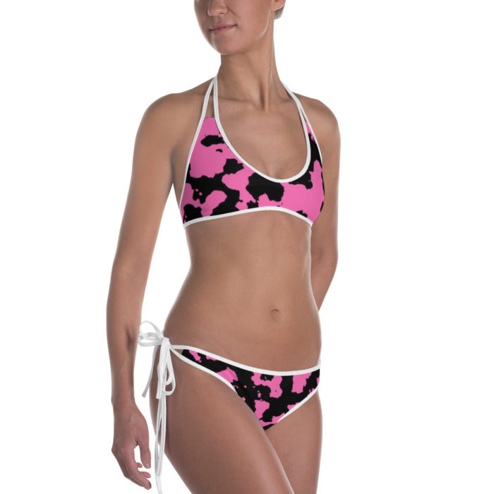 Pink Camouflage Bikini by Swim Rags - White Trim Right View