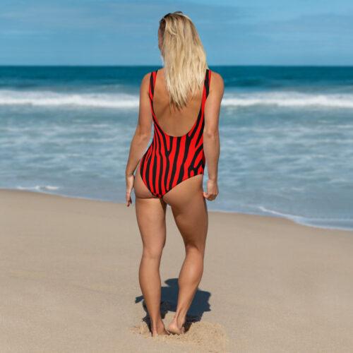 Red Zebra One-Piece Swimsuit