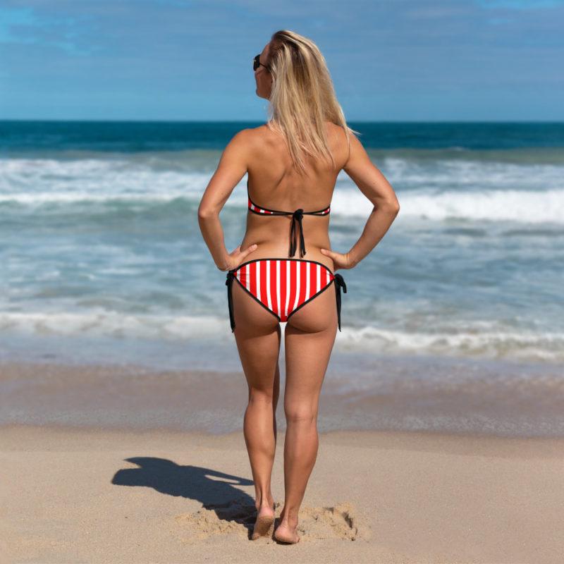 Red Striped Bikini Back View by Swim Rags