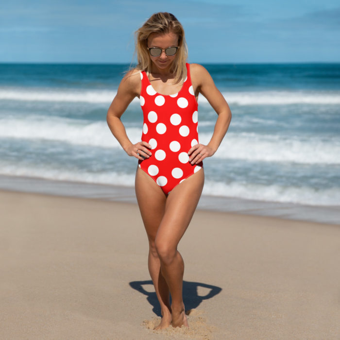 Red Polka Dot One-Piece Swimsuit