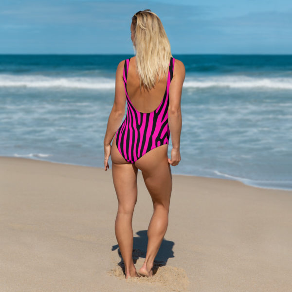Pink and Black Zebra One-Piece Swimsuit