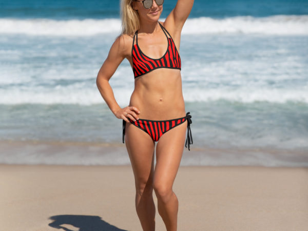 Black and Red Zebra Bikini