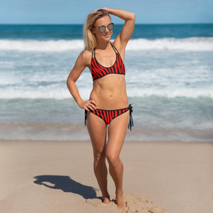 Black and Red Zebra Bikini