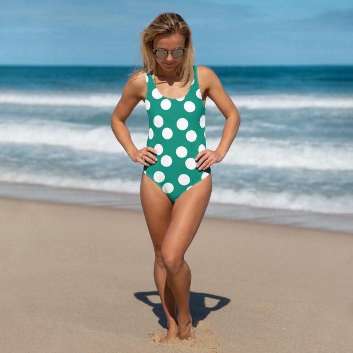 Green Polka Dot one-Piece Bikini Swimsuit