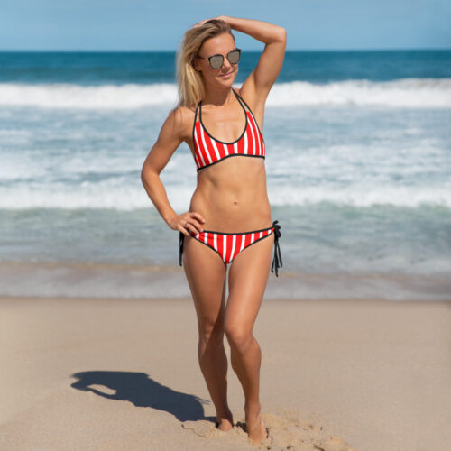 Red Striped Bikini by Swim Rags