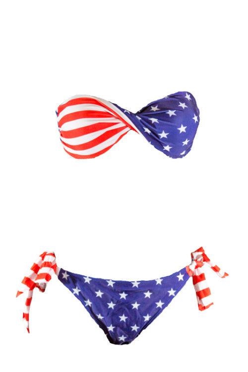 American Flag Twist Bandeau Bikini by Swim Rags