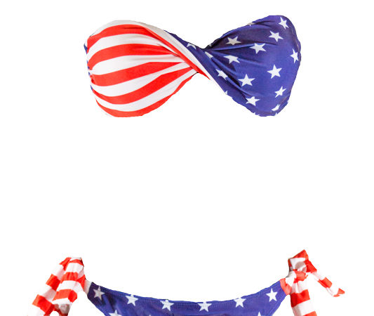 American Flag Twist Bandeau Bikini by Swim Rags