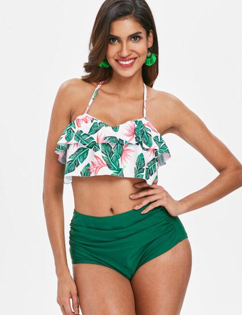 Swim Rags High Waist Green Floral Print Sexy Ruffled Summer Bikini Set (4)