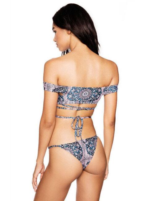 Two Piece Purple Floral Print Lace-up Bikini Swimsuit - 1