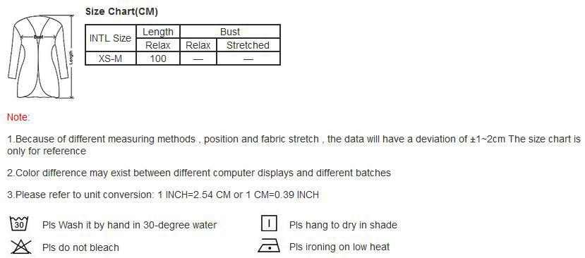 Swim Rags Chiffon Cardigan Swimsuit Cover Up Size Chart