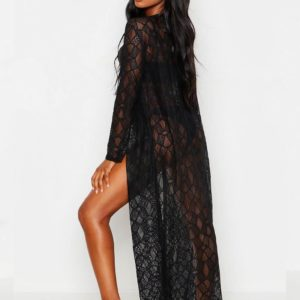 Swim Rags Delicate Embroidered Black Cardigan Long Beach Swimsuit Cover Up (2)
