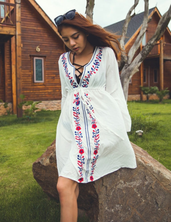 Swim Rags Embroidered White Kimono Long Sleeve Beach Cover Up Dress (2)