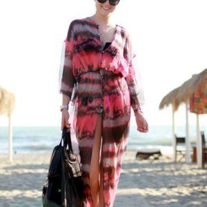Swim Rags Fashionable Open Front Tie-dye Print Chiffon Beach Dress (1)