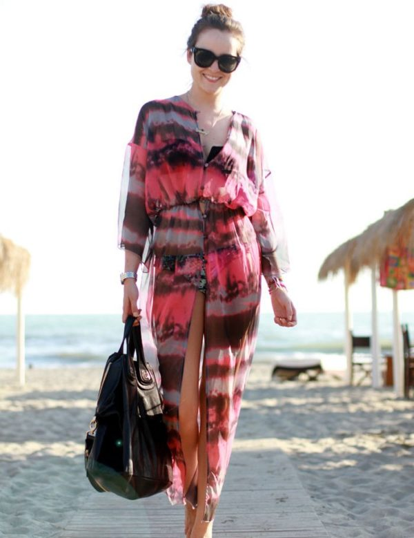 Swim Rags Fashionable Open Front Tie-dye Print Chiffon Beach Dress (1)