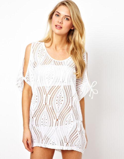 Swim Rags Ocean Breeze Lace Cut Out Shoulder Bikini Cover Up (1)