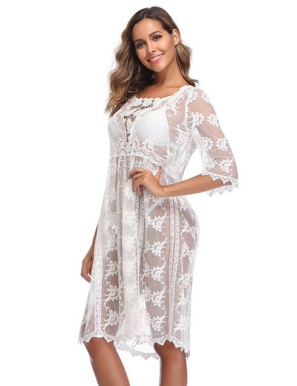 Swim Rags Sheer White Bohemian Style Beach Cover-up Dress (3)