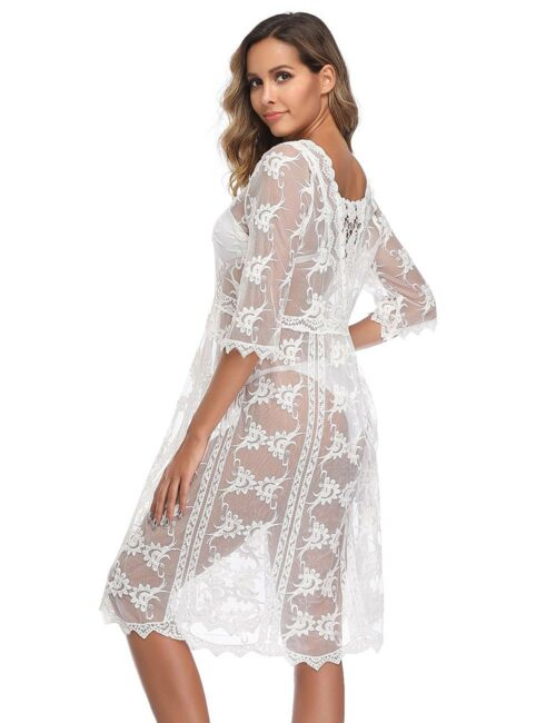 Swim Rags Sheer White Bohemian Style Beach Cover-up Dress (5)
