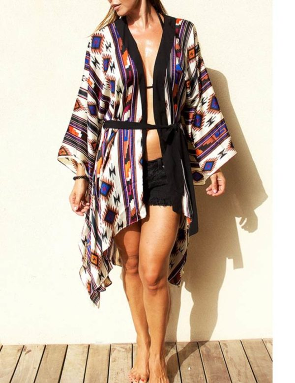 Swim Rags Tribal Print Chiffon Cardigan Swimsuit Cover Up (3)