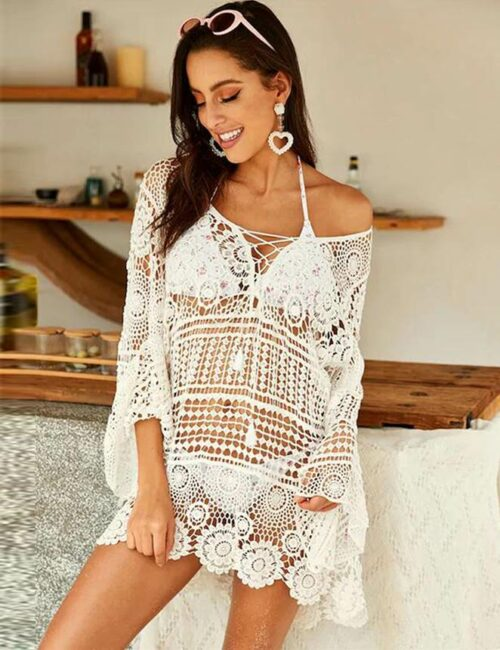 Swim Rags White Cream Knitted Hollow out Beach Cover Up (1)