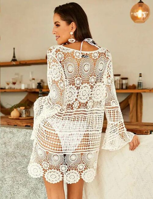 Swim Rags White Cream Knitted Hollow out Beach Cover Up (3)
