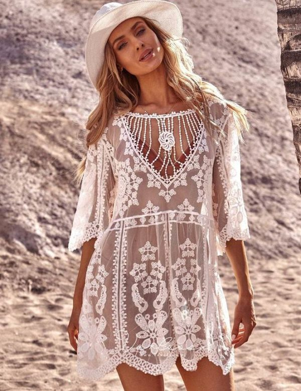 Swim Rags White Pearl Knitted Hollow Out Beach Cover Up (1)