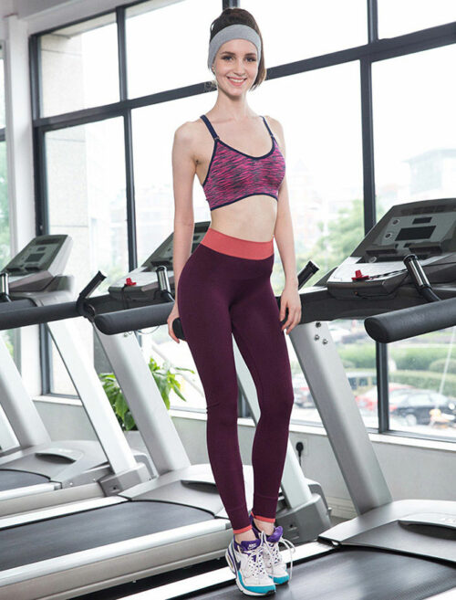 Fusion Red Fitness Leggings Treadmill Workout Front View