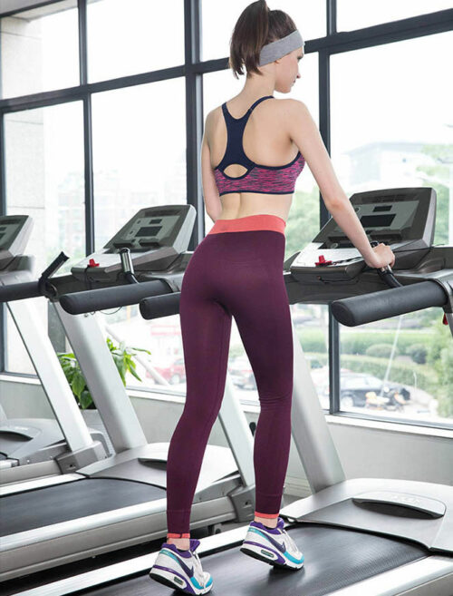 Fusion Red Fitness Leggings Treadmill Workout Rear View