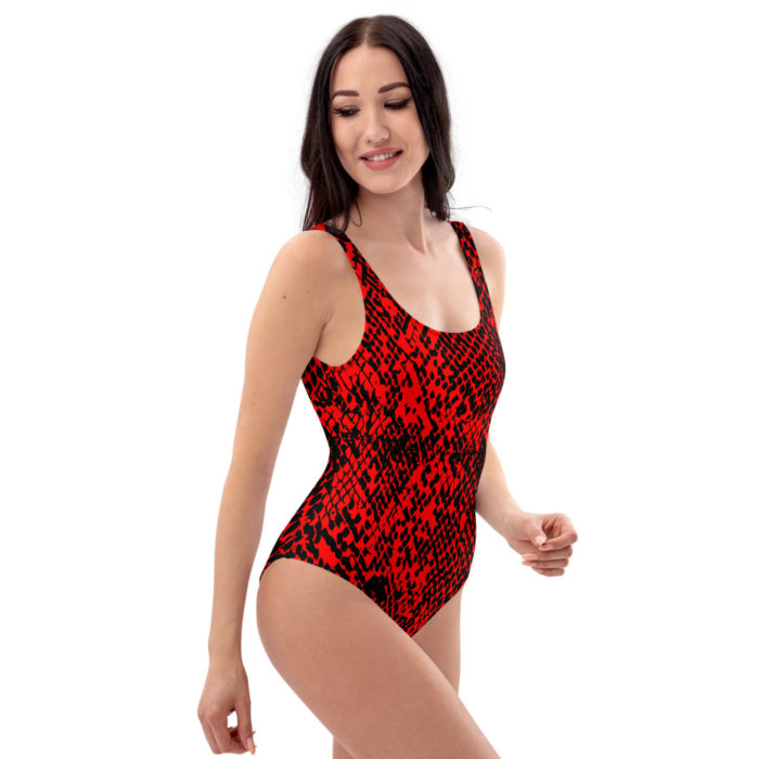 Red Snakeskin One-Piece Swimsuit