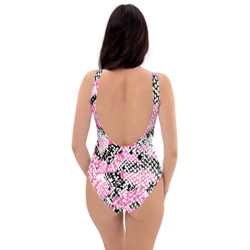 Pink Snakeskin One-Piece Swimsuit