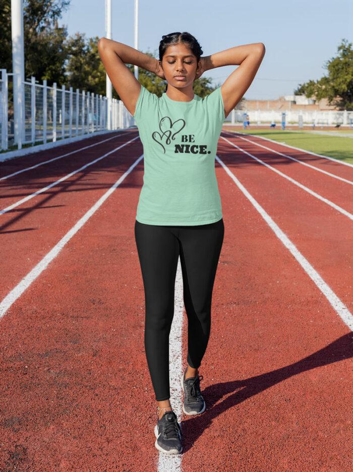BE NICE Short-Sleeve T-Shirt and Black Yoga Exercise Leggings by Swim Rags