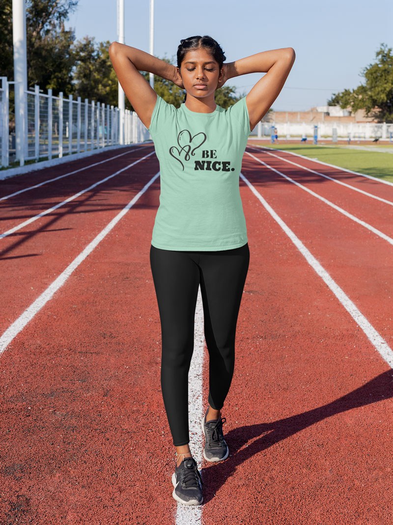 BE NICE Short-Sleeve T-Shirt and Black Yoga Exercise Leggings by Swim Rags