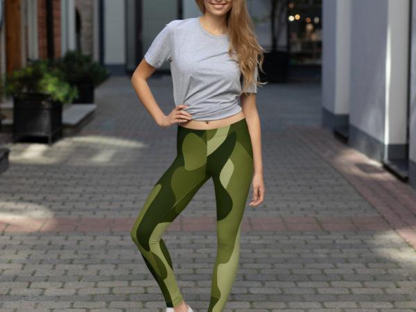 Women's and Girl's Green Camo Leggings - Model View