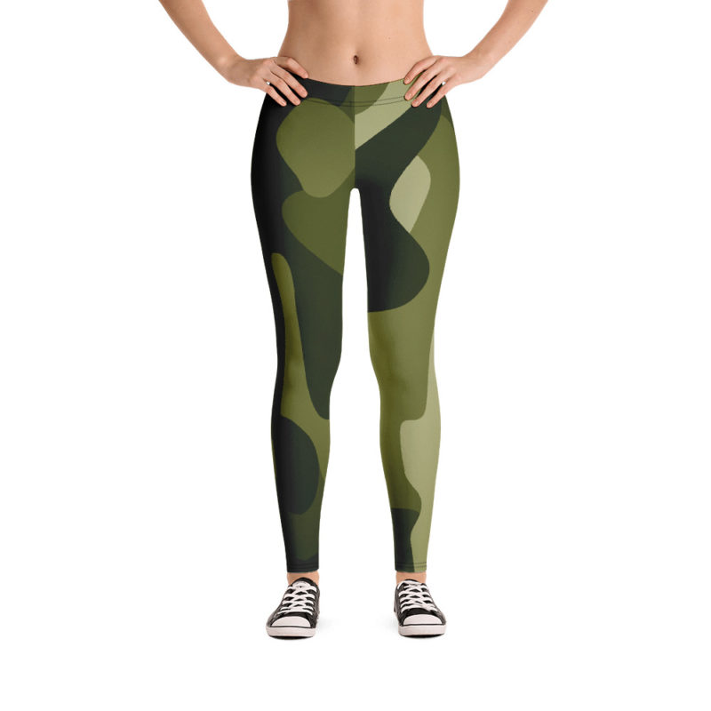 Women's and Girl's Green Camo Leggings - Front-Side Model View