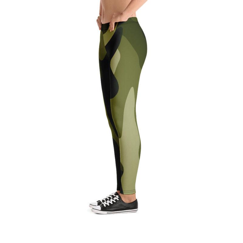 Women's and Girl's Green Camo Leggings - Left-Side Model View