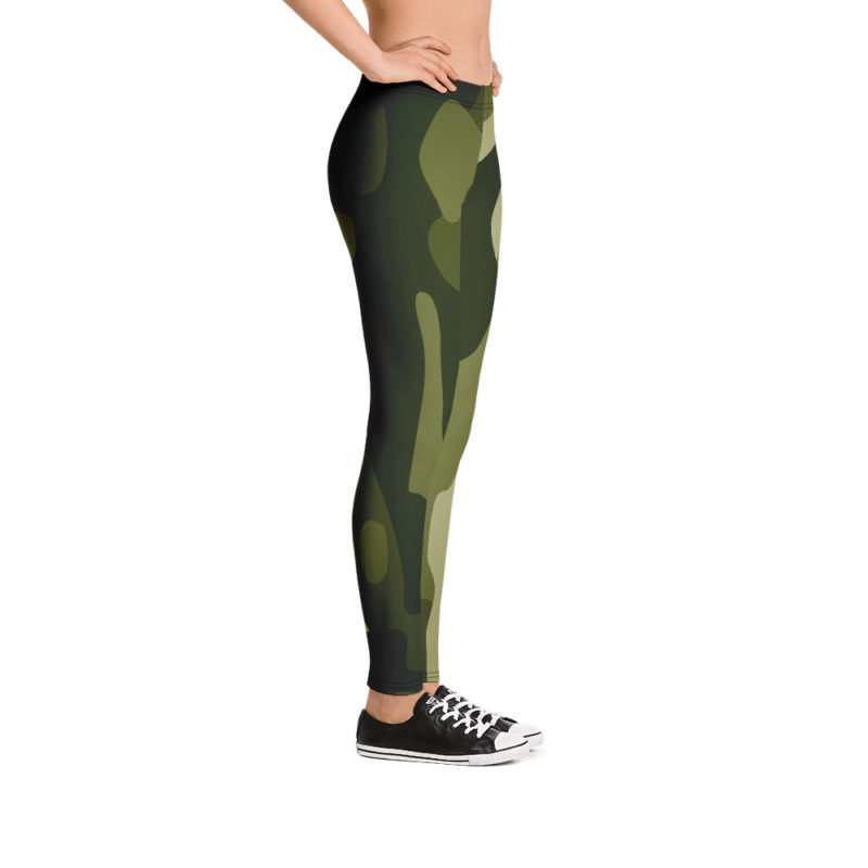 Women's and Girl's Green Camo Leggings - Right-Side Model View