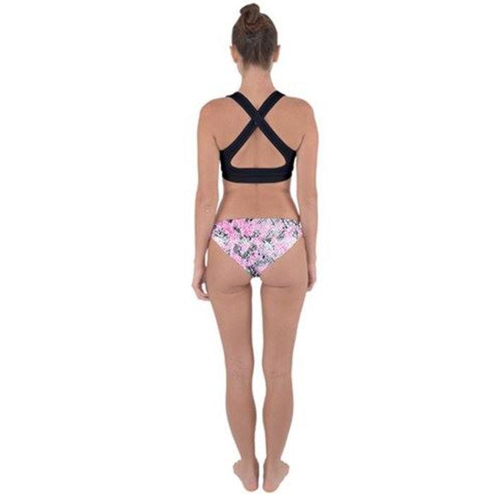 Snake Skin Cross Back Hipster Bikini Back View by Swim Rags