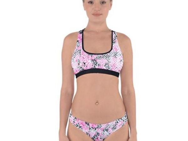 Snake Skin Cross Back Hipster Bikini Front View by Swim Rags