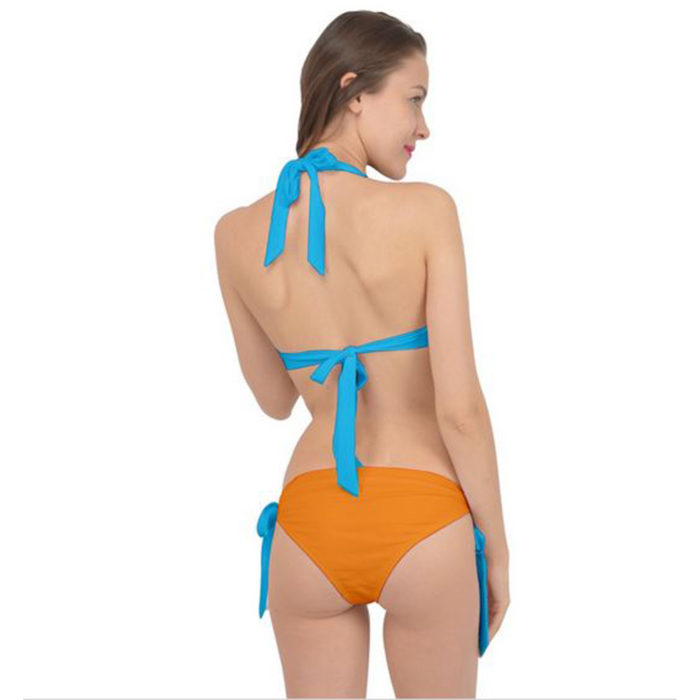 Blue and Orange All Tied It Up Bikini Set Back View by Swim Rags