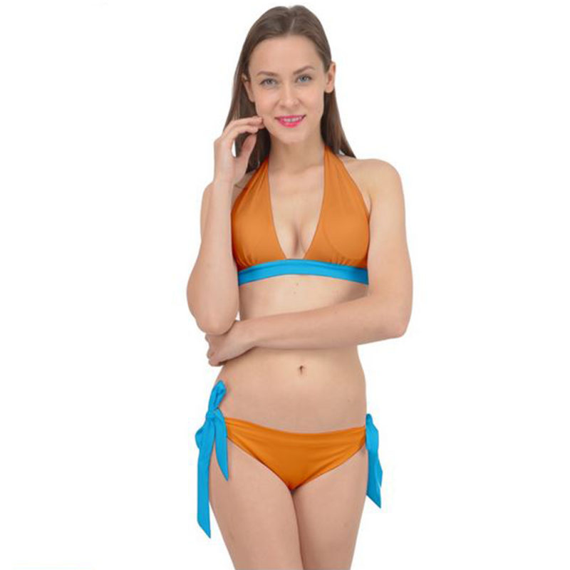 Blue and Orange All Tied It Up Bikini Set Front View by Swim Rags