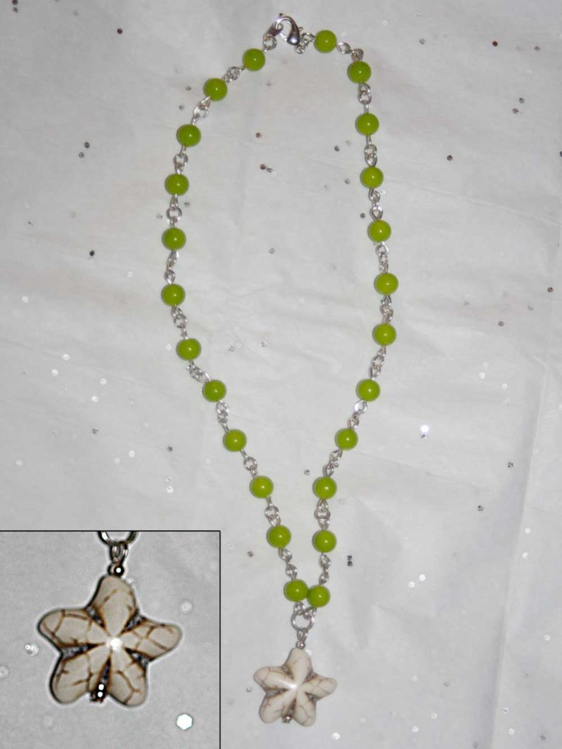 Sea Star Necklace on Green Chain