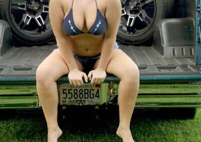 Bikini Model River Modeling with Classic Truck for Swim Rags (5)