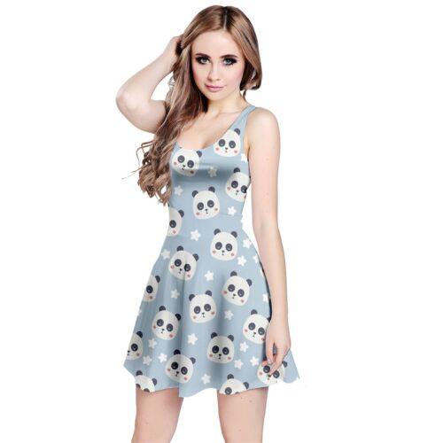 Cute Sleeveless Panda Print Dress by Swim Rags Front View