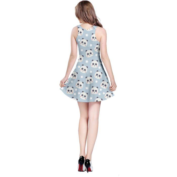 Cute Sleeveless Panda Print Dress - Rear View