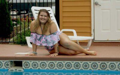 Plus Size Model Aleena Stuns Us in a Snake Skin Halter Bikini Set